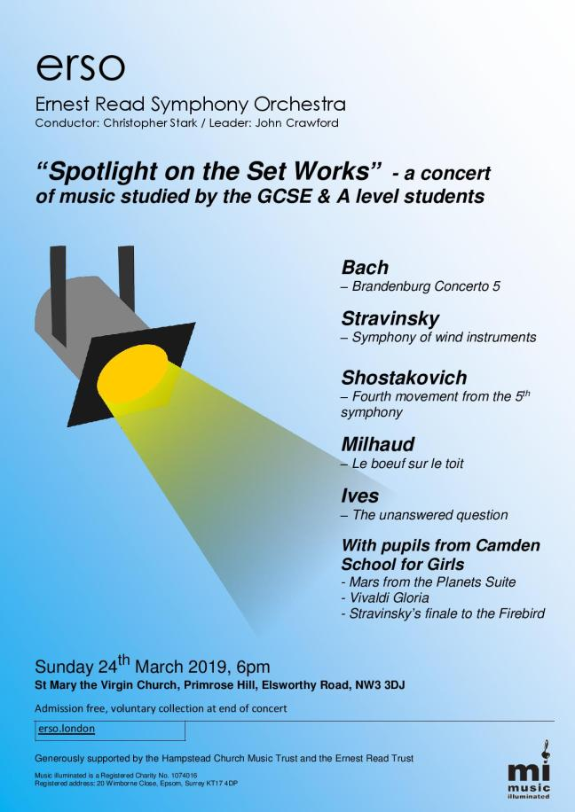 ERSO spotlight on the set works concert flyer
